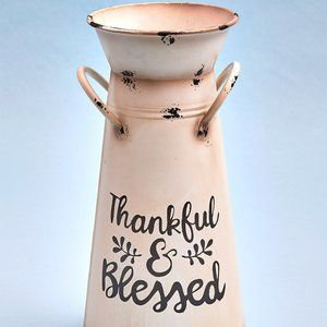 """""""Thankful & Blessed"""" Milk Can Vase"""